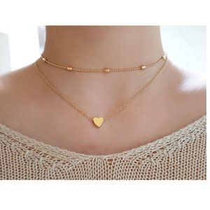 Layered Heart Choker Necklace (Gold)